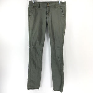 American Eagle 8 Skinny Stretch Green Khaki Pants